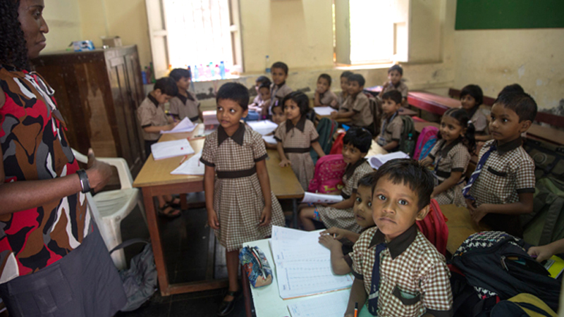 Classroom of kids during a LLU India mission trip