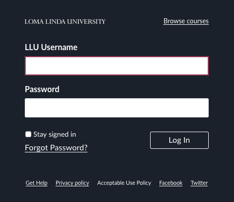 Alumni Portal login screenshot