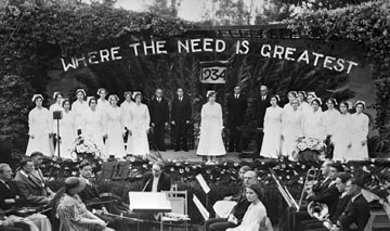 During CME?s graduation in 1934, School of Nursing students receive their diplomas.