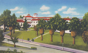 A postcard depicts the Loma Linda Sanitarium and Hospital, circa 1920s.
