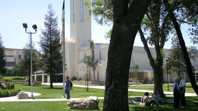 Man walking by University Chapel
